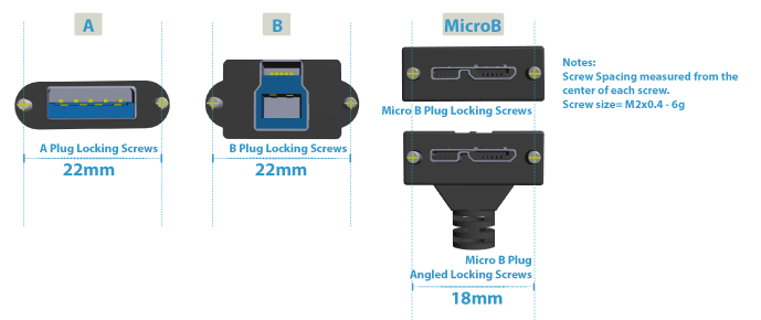 USB 3 Vision Compliant Locking Connectors